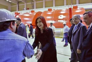 Cristina Fernandez in the pre opening of the nuclear plant Atucha 2