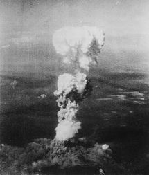 Mushroom cloud over Hiroshima after the bomb dropped Little Boy
