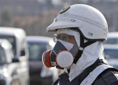 Expert working at the Fukushima nuclear power plant after the accident.